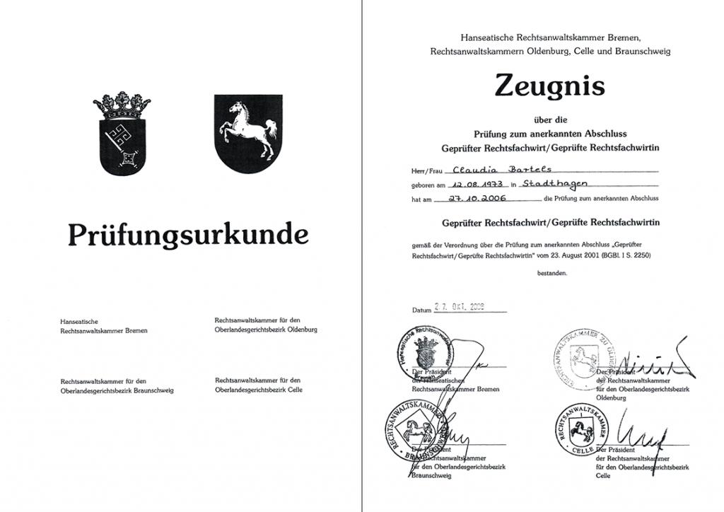 Prüfungsurkunde / Zeugnis Rechtsfachwirtin Frau Claudia Bartels